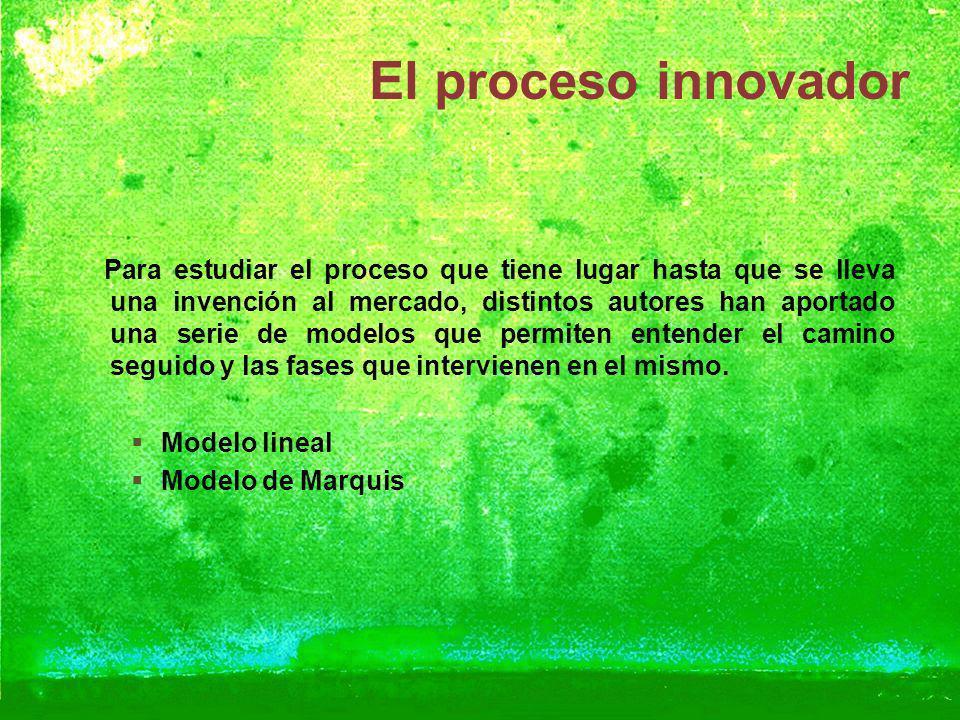 El proceso innovador Para estudiar el proceso que tiene lugar hasta que se lleva una invención al mercado, distintos autores han aportado una serie de