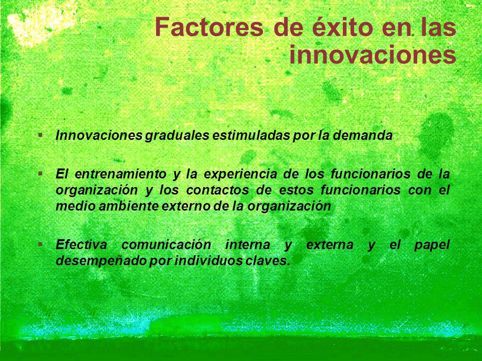 Factores de éxito en las innovaciones Innovaciones graduales estimuladas por la demanda El entrenamiento y la experiencia de los funcionarios de la or
