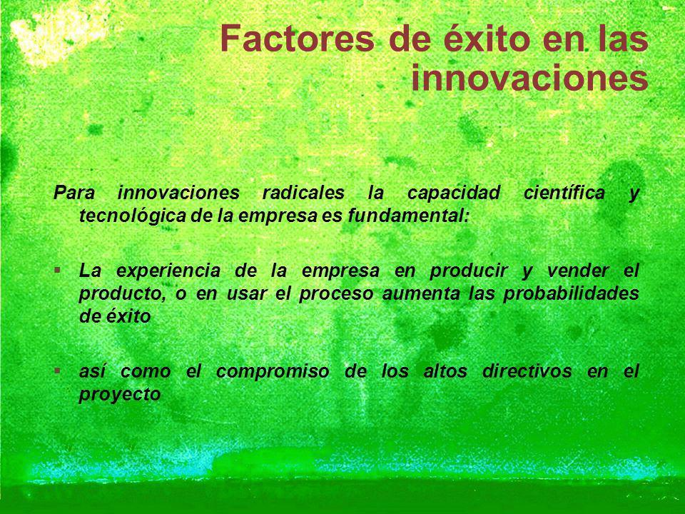 Factores de éxito en las innovaciones Para innovaciones radicales la capacidad científica y tecnológica de la empresa es fundamental: La experiencia d