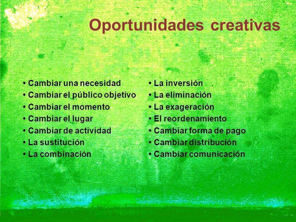 Oportunidades creativas Cambiar una necesidad Cambiar el público objetivo Cambiar el momento Cambiar el lugar Cambiar de actividad La sustitución La c