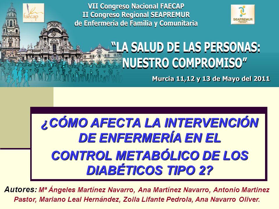 ¿CÓMO AFECTA LA INTERVENCIÓN DE ENFERMERÍA EN EL CONTROL METABÓLICO DE LOS DIABÉTICOS TIPO 2? Autores: Autores: Mª Ángeles Martínez Navarro, Ana Martí
