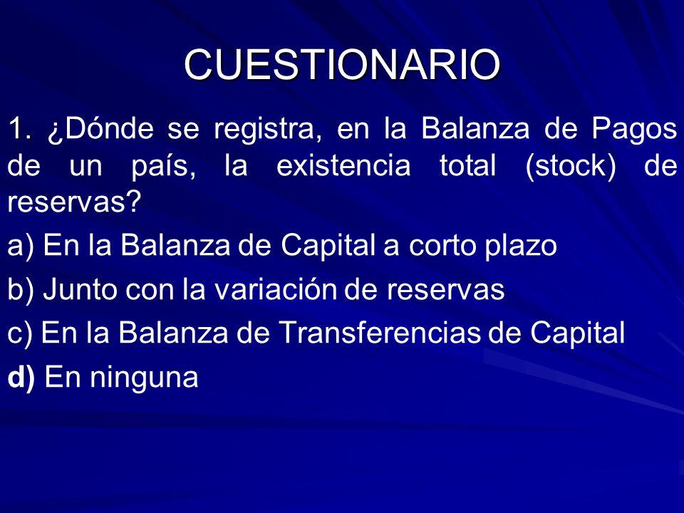 CUESTIONARIO 1. 1. ¿Dónde se registra, en la Balanza de Pagos de un país, la existencia total (stock) de reservas? a) En la Balanza de Capital a corto
