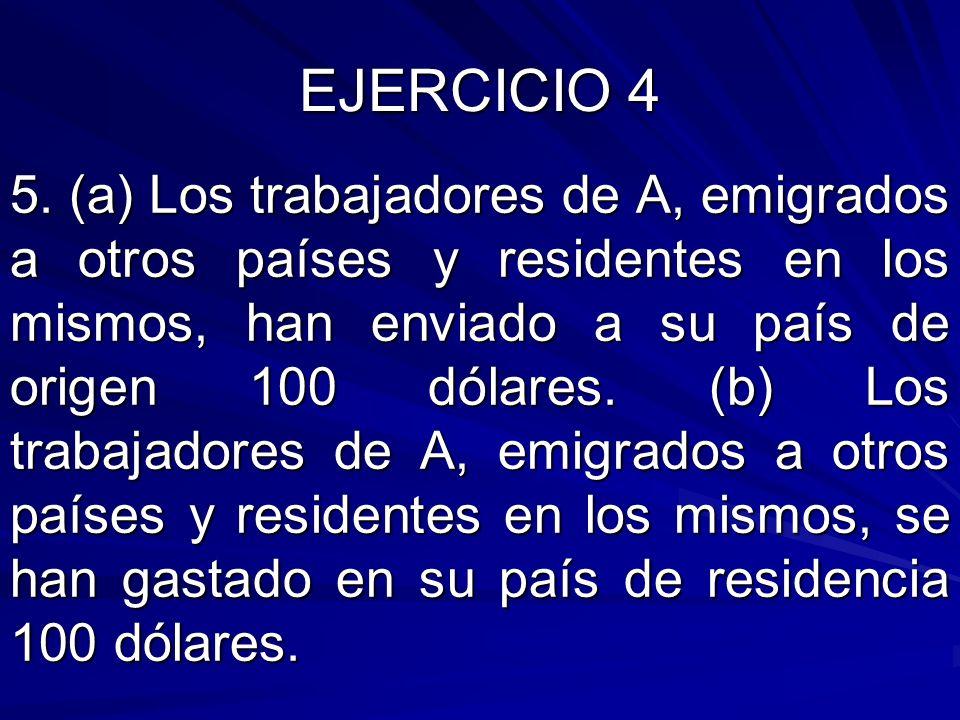 5. (a) Los trabajadores de A, emigrados a otros países y residentes en los mismos, han enviado a su país de origen 100 dólares. (b) Los trabajadores d