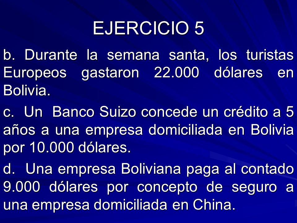 EJERCICIO 5 b. Durante la semana santa, los turistas Europeos gastaron 22.000 dólares en Bolivia. c. Un Banco Suizo concede un crédito a 5 años a una