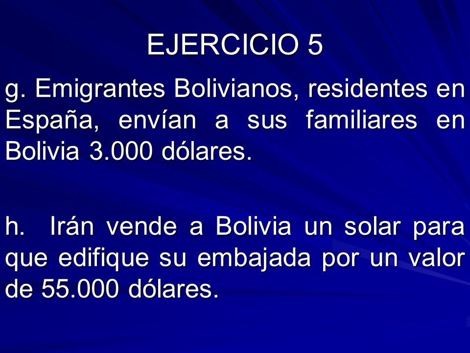EJERCICIO 5 g. Emigrantes Bolivianos, residentes en España, envían a sus familiares en Bolivia 3.000 dólares. h. Irán vende a Bolivia un solar para qu