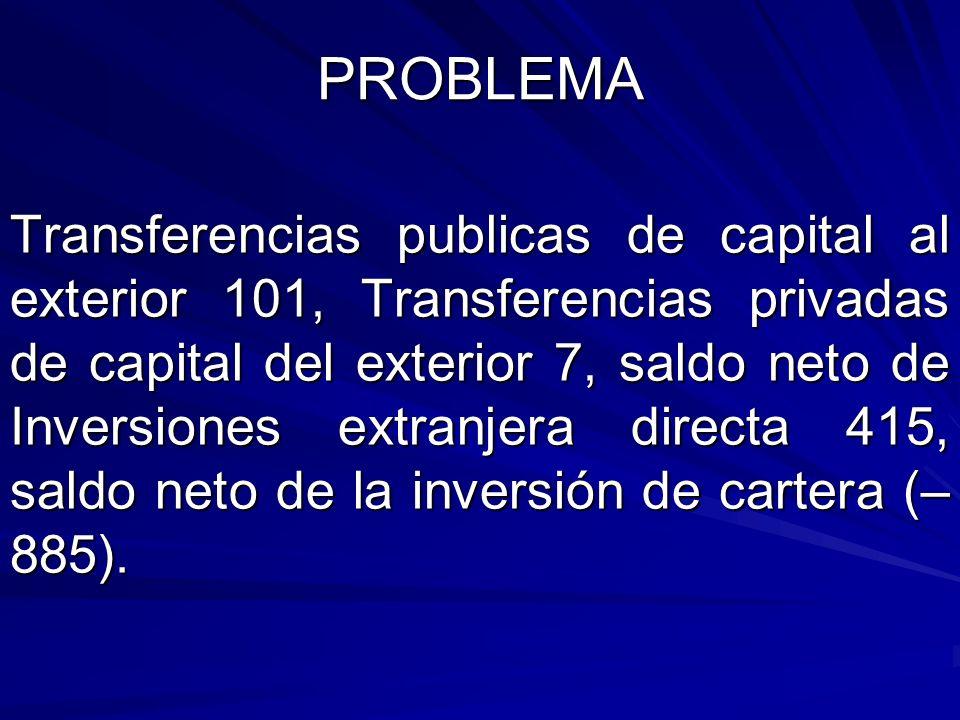PROBLEMA Transferencias publicas de capital al exterior 101, Transferencias privadas de capital del exterior 7, saldo neto de Inversiones extranjera d