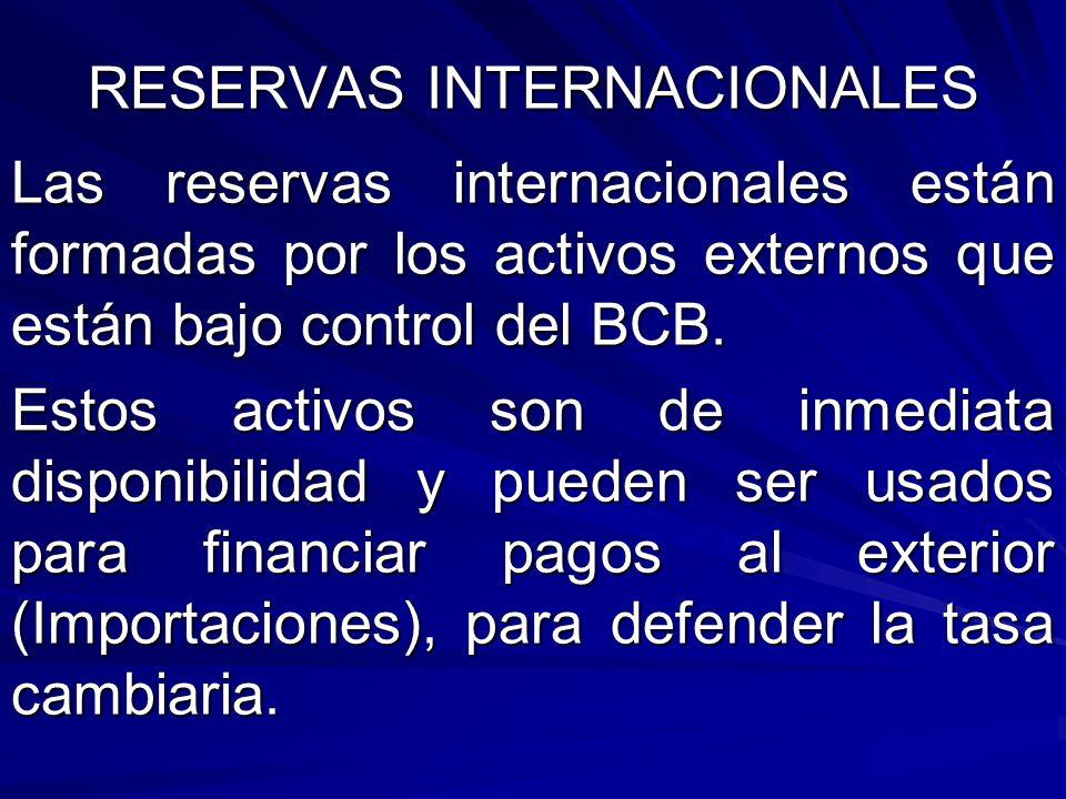 RESERVAS INTERNACIONALES Las reservas internacionales están formadas por los activos externos que están bajo control del BCB. Estos activos son de inm