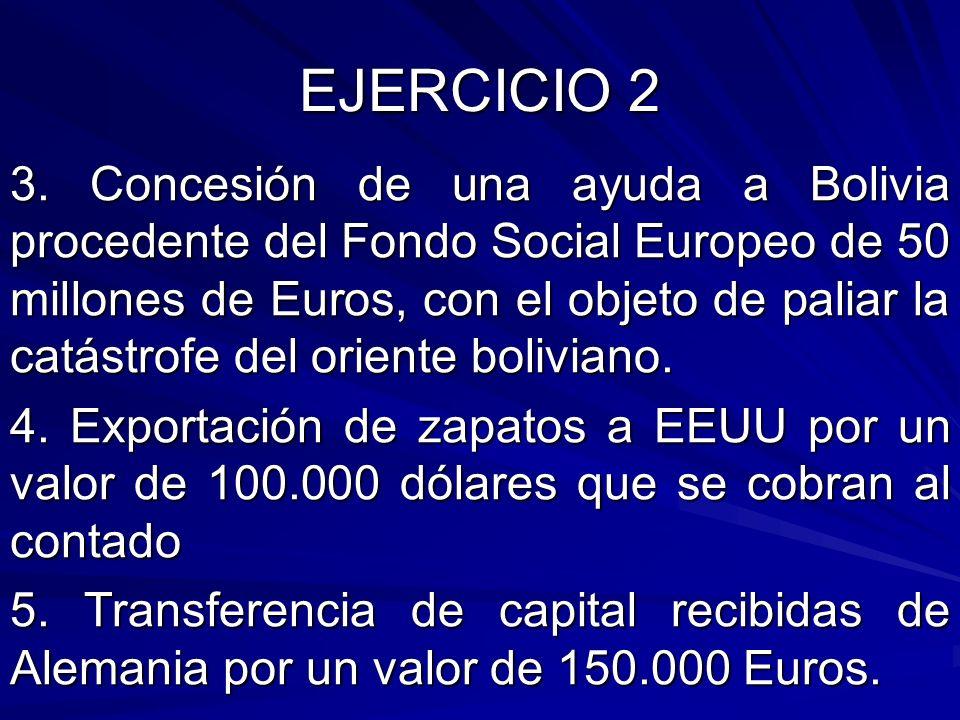 EJERCICIO 2 3. Concesión de una ayuda a Bolivia procedente del Fondo Social Europeo de 50 millones de Euros, con el objeto de paliar la catástrofe del