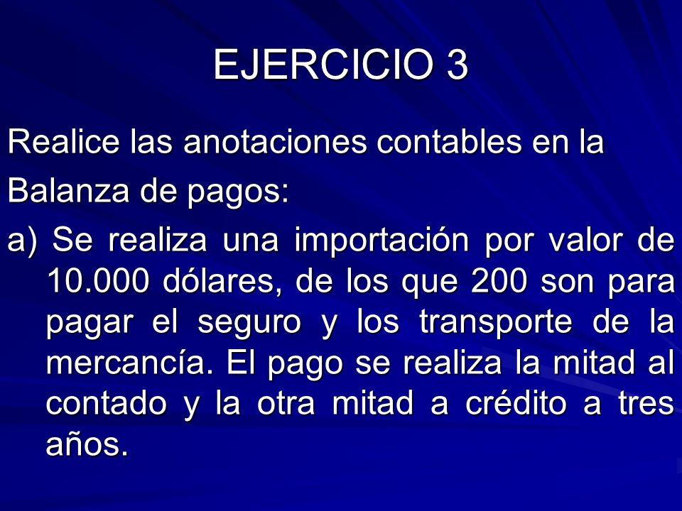 EJERCICIO 3 Realice las anotaciones contables en la Balanza de pagos: a) Se realiza una importación por valor de 10.000 dólares, de los que 200 son pa