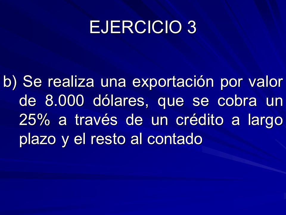 b) Se realiza una exportación por valor de 8.000 dólares, que se cobra un 25% a través de un crédito a largo plazo y el resto al contado