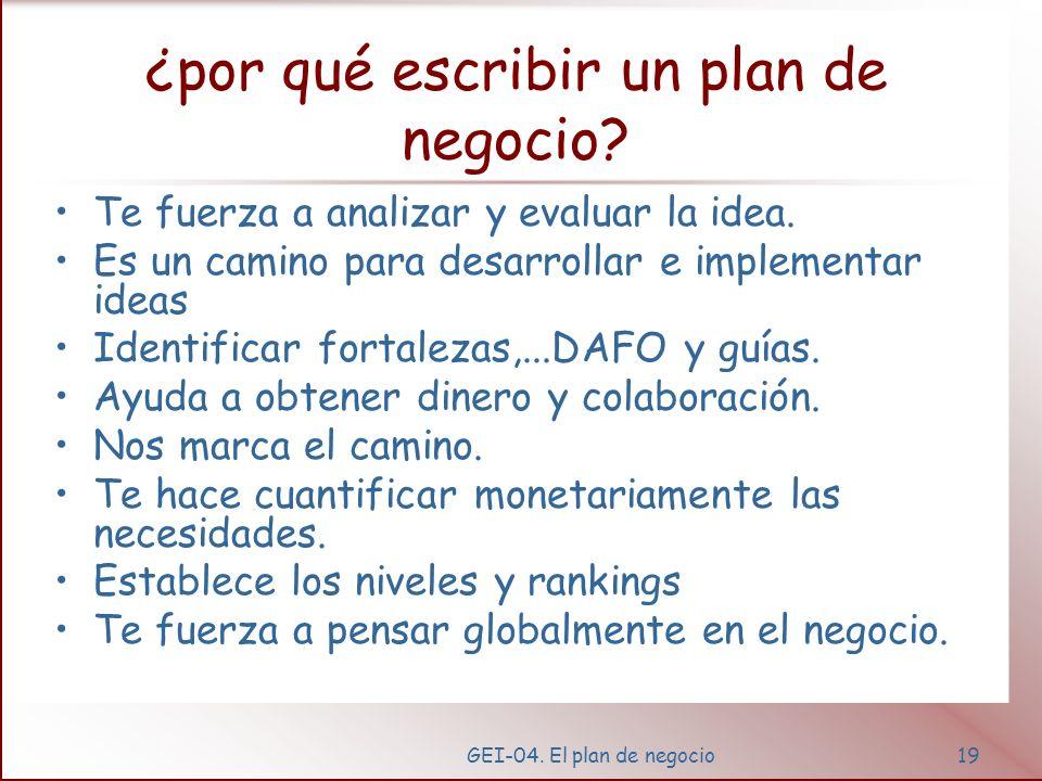 GEI-04. El plan de negocio18 ¿cómo conseguimos... ¿Experiencia? ¿Credibilidad? ¿Concordancia? ¿Comprensión? ¿Planificación?