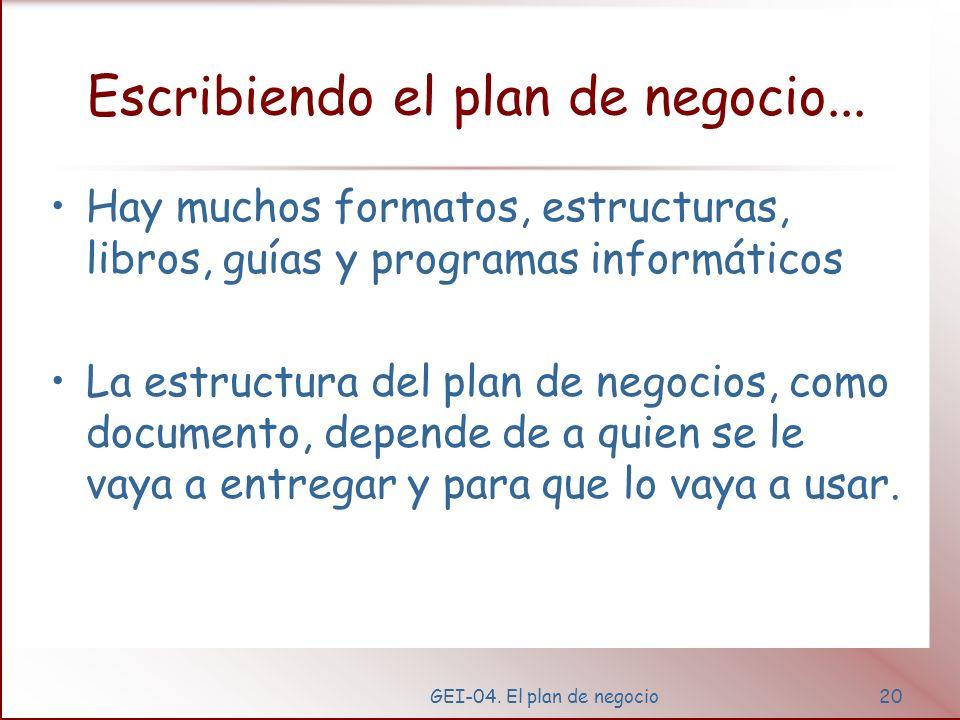 GEI-04. El plan de negocio19 ¿por qué escribir un plan de negocio? Te fuerza a analizar y evaluar la idea. Es un camino para desarrollar e implementar