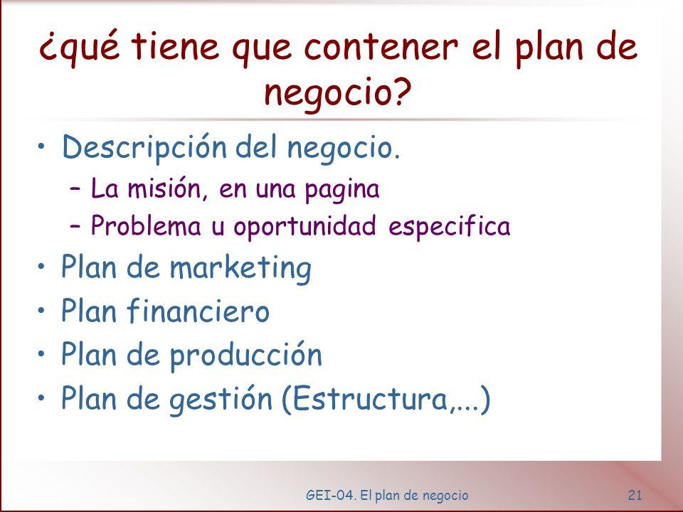 GEI-04. El plan de negocio20 Escribiendo el plan de negocio... Hay muchos formatos, estructuras, libros, guías y programas informáticos La estructura