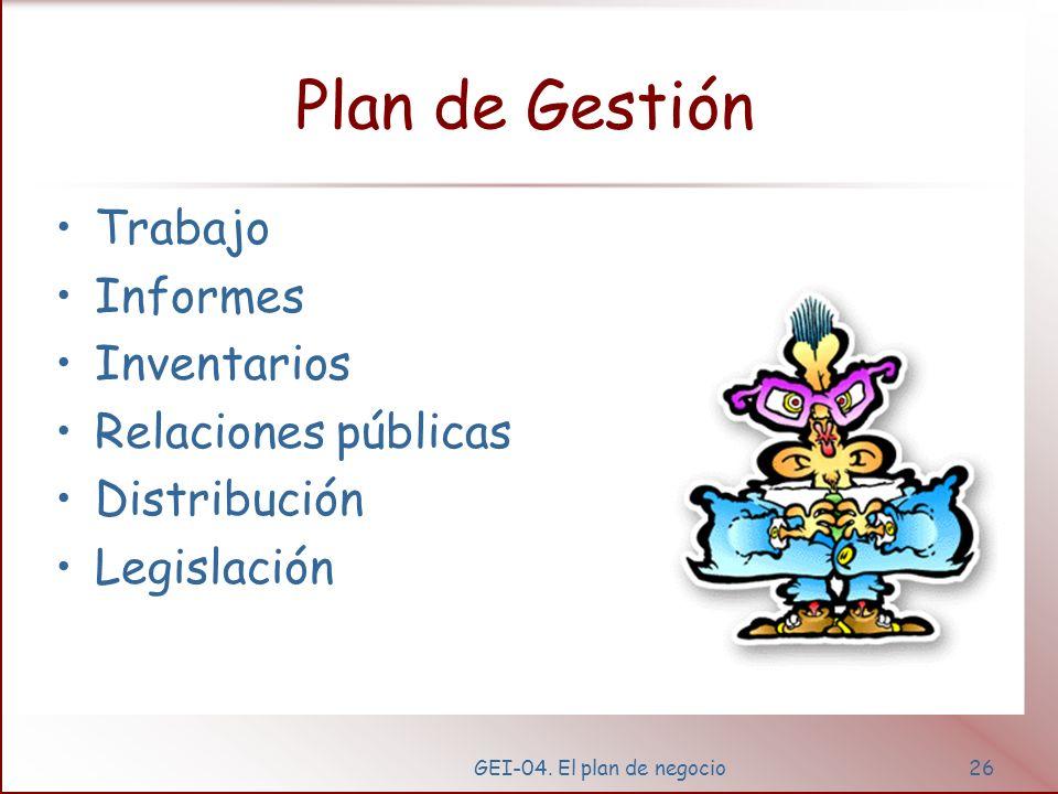 GEI-04. El plan de negocio25 Plan de producción Volumen Formula para conseguirlo Entradas y salidas del sistema Trabajo Flujos Legislación Seguimiento