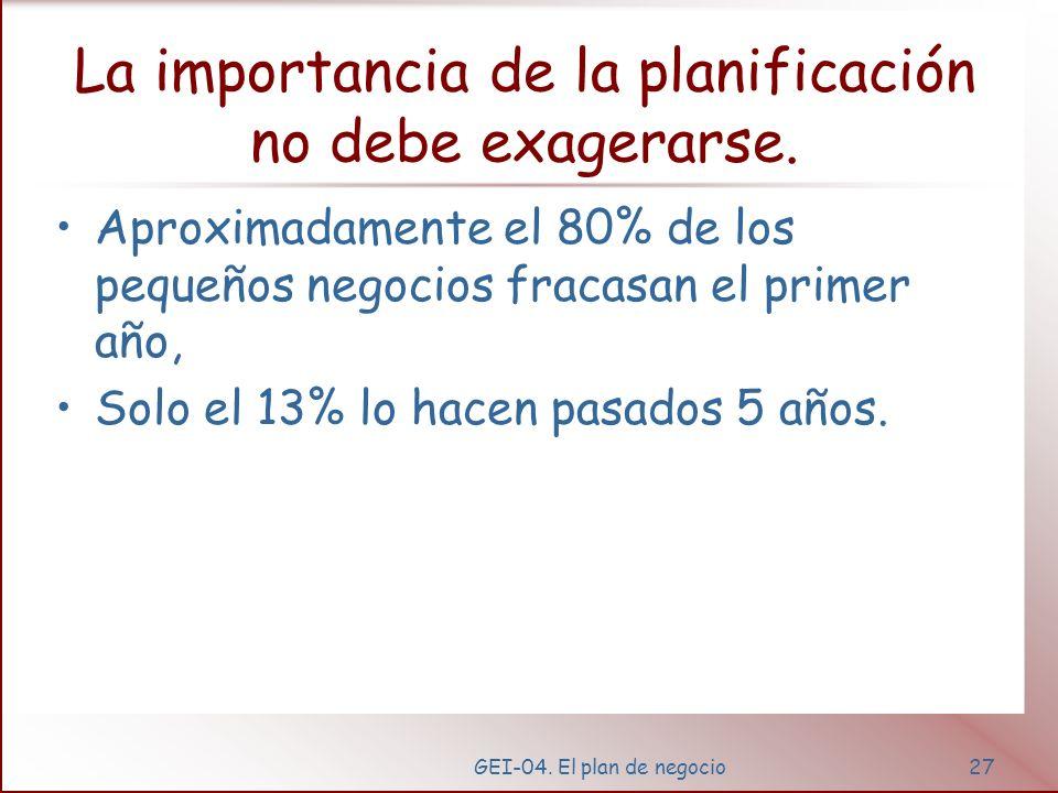 GEI-04. El plan de negocio26 Plan de Gestión Trabajo Informes Inventarios Relaciones públicas Distribución Legislación