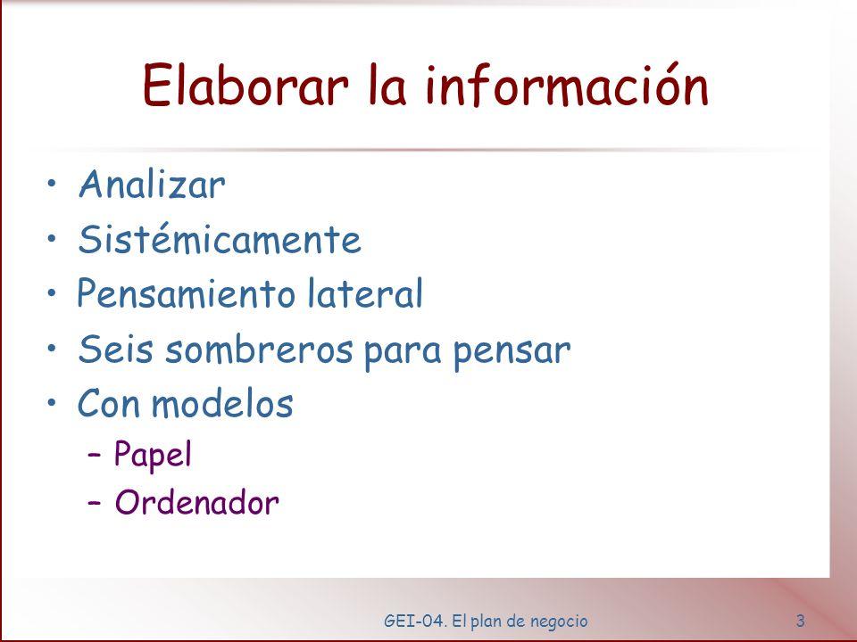 GEI-04. El plan de negocio2 Obtener información Del entorno –Mercados, –Productos, –Servicios, –Marketing, –Competidores, –Suministradores, –Finanzas