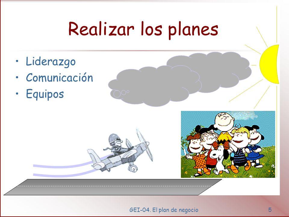 GEI-04. El plan de negocio4 Crear Planes (plan de negocio) Síntesis –Visión, –Objetivos, –Estrategia –Planes Marketing Finanzas Productos Personas Sum