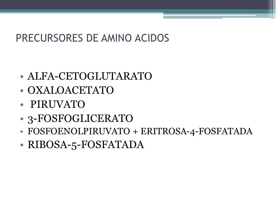 PRECURSORES DE AMINO ACIDOS ALFA-CETOGLUTARATO OXALOACETATO PIRUVATO 3-FOSFOGLICERATO FOSFOENOLPIRUVATO + ERITROSA-4-FOSFATADA RIBOSA-5-FOSFATADA