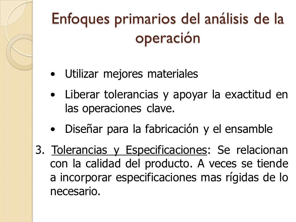 Enfoques primarios del análisis de la operación Utilizar mejores materiales Liberar tolerancias y apoyar la exactitud en las operaciones clave. Diseña