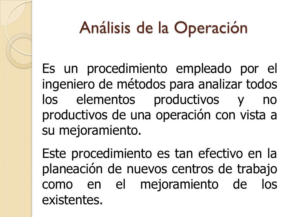 Análisis de la Operación Es un procedimiento empleado por el ingeniero de métodos para analizar todos los elementos productivos y no productivos de un