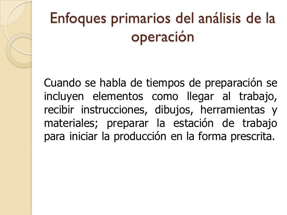 Enfoques primarios del análisis de la operación Cuando se habla de tiempos de preparación se incluyen elementos como llegar al trabajo, recibir instru