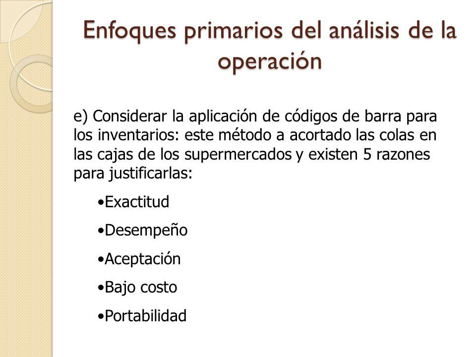 Enfoques primarios del análisis de la operación e) Considerar la aplicación de códigos de barra para los inventarios: este método a acortado las colas