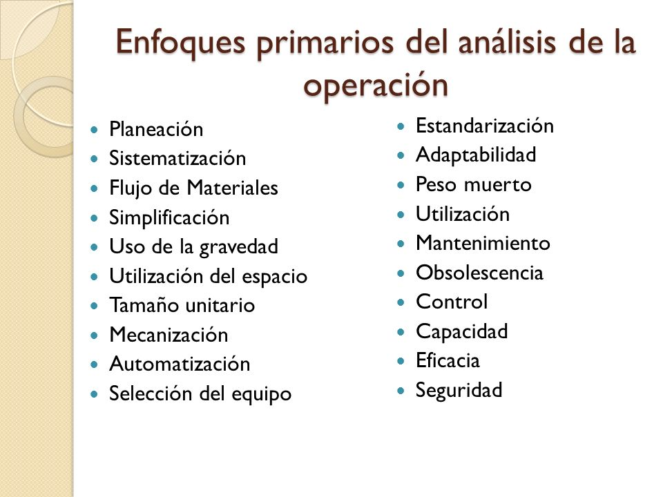 Enfoques primarios del análisis de la operación Planeación Sistematización Flujo de Materiales Simplificación Uso de la gravedad Utilización del espac
