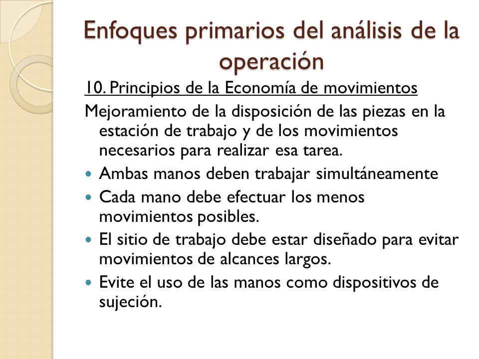 Enfoques primarios del análisis de la operación 10. Principios de la Economía de movimientos Mejoramiento de la disposición de las piezas en la estaci