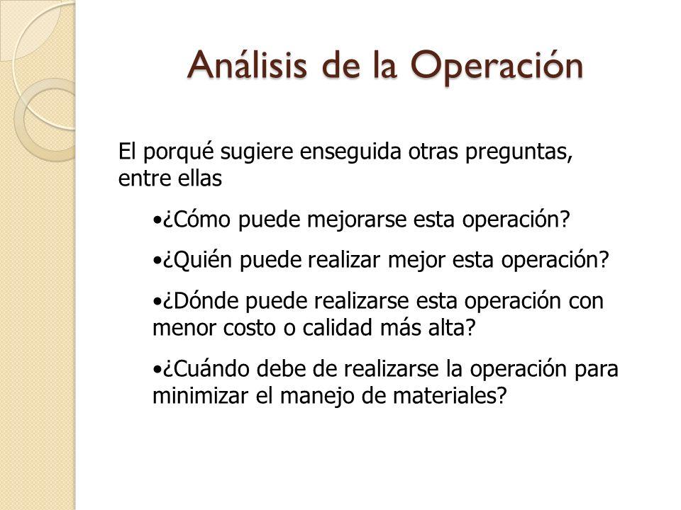 Análisis de la Operación El porqué sugiere enseguida otras preguntas, entre ellas ¿Cómo puede mejorarse esta operación? ¿Quién puede realizar mejor es
