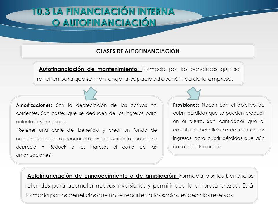 CLASES DE AUTOFINANCIACIÓN - Autofinanciación de mantenimiento: Formada por los beneficios que se retienen para que se mantenga la capacidad económica