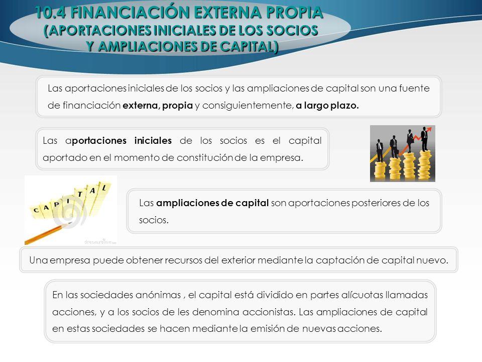 10.4 FINANCIACIÓN EXTERNA PROPIA (APORTACIONES INICIALES DE LOS SOCIOS Y AMPLIACIONES DE CAPITAL) Y AMPLIACIONES DE CAPITAL) Las aportaciones iniciale