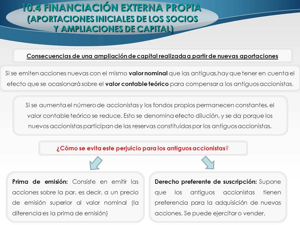 10.4 FINANCIACIÓN EXTERNA PROPIA (APORTACIONES INICIALES DE LOS SOCIOS Y AMPLIACIONES DE CAPITAL) Y AMPLIACIONES DE CAPITAL) Consecuencias de una ampl