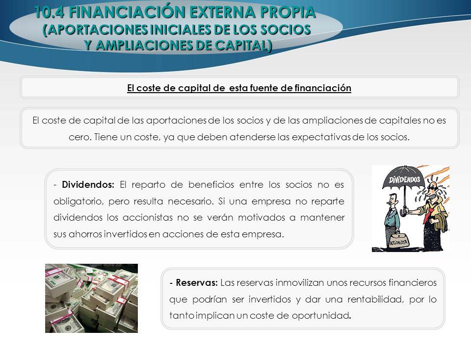 10.4 FINANCIACIÓN EXTERNA PROPIA (APORTACIONES INICIALES DE LOS SOCIOS Y AMPLIACIONES DE CAPITAL) Y AMPLIACIONES DE CAPITAL) El coste de capital de es