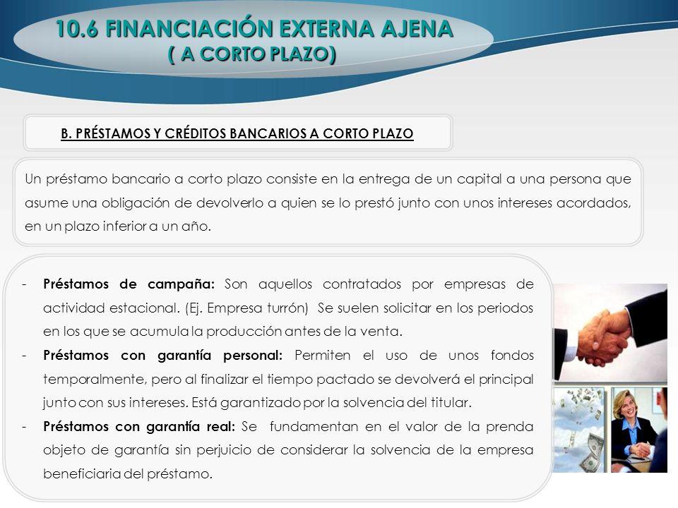 10.6 FINANCIACIÓN EXTERNA AJENA ( A CORTO PLAZO) Un préstamo bancario a corto plazo consiste en la entrega de un capital a una persona que asume una o