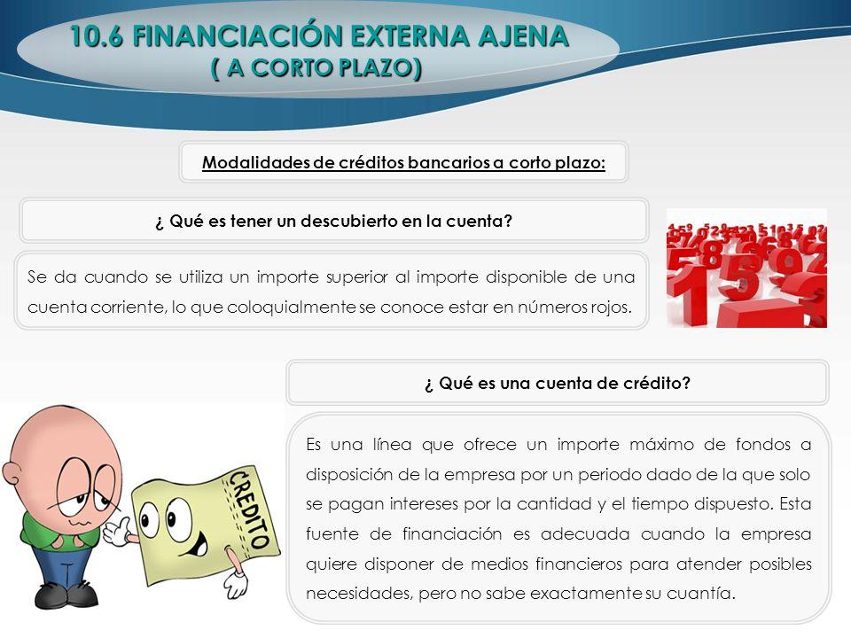 10.6 FINANCIACIÓN EXTERNA AJENA ( A CORTO PLAZO) ¿ Qué es tener un descubierto en la cuenta? Se da cuando se utiliza un importe superior al importe di