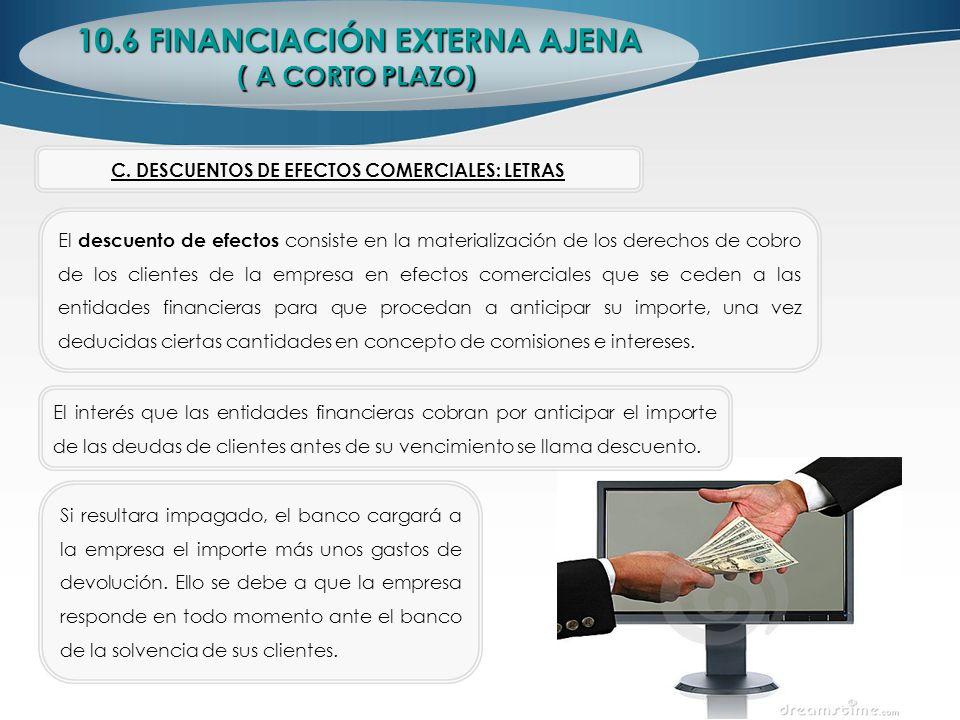 10.6 FINANCIACIÓN EXTERNA AJENA ( A CORTO PLAZO) El descuento de efectos consiste en la materialización de los derechos de cobro de los clientes de la