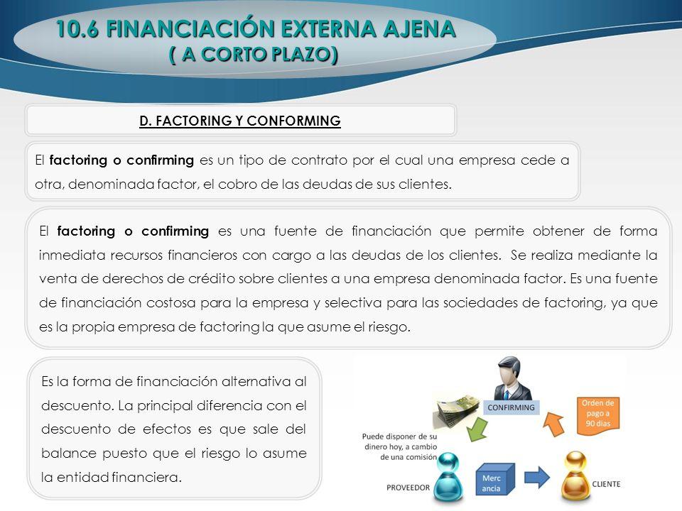 10.6 FINANCIACIÓN EXTERNA AJENA ( A CORTO PLAZO) D. FACTORING Y CONFORMING El factoring o confirming es un tipo de contrato por el cual una empresa ce