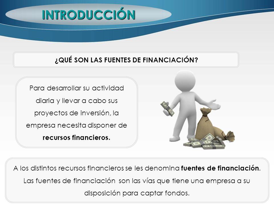 Para desarrollar su actividad diaria y llevar a cabo sus proyectos de inversión, la empresa necesita disponer de recursos financieros. INTRODUCCIÓN ¿Q