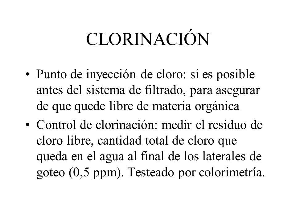 Cálculo de caudal para clorinación Caudal de solución de cloro (L/H) a inyectar = Concentr. cloro deseada (ppm)xCaudal riego(m3/H) Concentrac. en % de