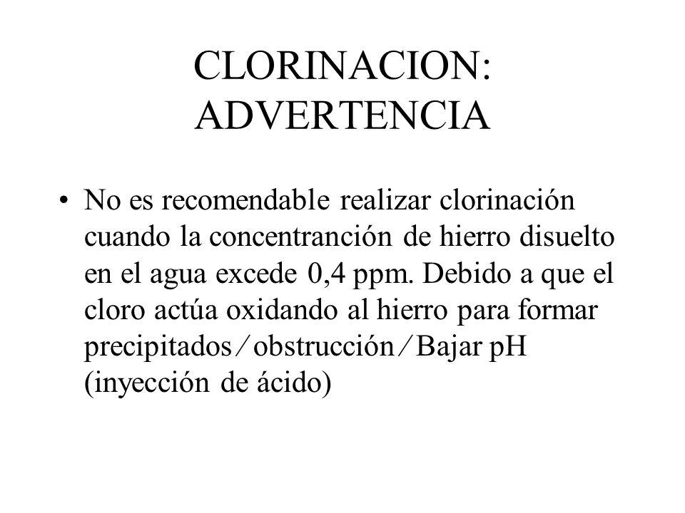 CLORINACION: Aplicación Inyección intermitente de cloro en concentración baja y uniforme (1 a 10 ppm) una o varias veces durante el ciclo de riego. In