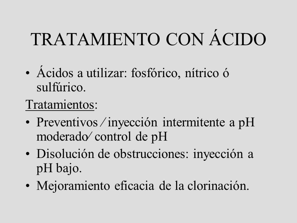 CLORINACION: ADVERTENCIA No es recomendable realizar clorinación cuando la concentranción de hierro disuelto en el agua excede 0,4 ppm. Debido a que e