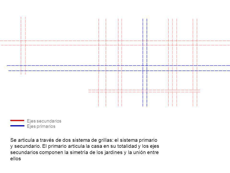 Se articula a través de dos sistema de grillas: el sistema primario y secundario. El primario articula la casa en su totalidad y los ejes secundarios
