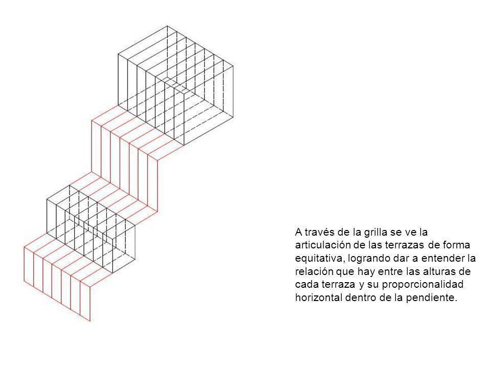 A través de la grilla se ve la articulación de las terrazas de forma equitativa, logrando dar a entender la relación que hay entre las alturas de cada