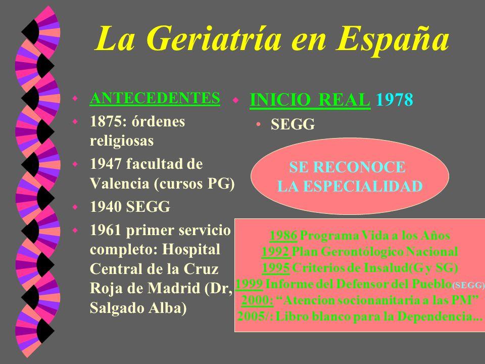 La Geriatría en España w ANTECEDENTES w 1875: órdenes religiosas w 1947 facultad de Valencia (cursos PG) w 1940 SEGG w 1961 primer servicio completo: