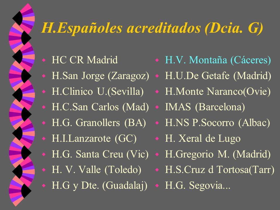 H.Españoles acreditados (Dcia. G) w HC CR Madrid w H.San Jorge (Zaragoz) w H.Clinico U.(Sevilla) w H.C.San Carlos (Mad) w H.G. Granollers (BA) w H.I.L
