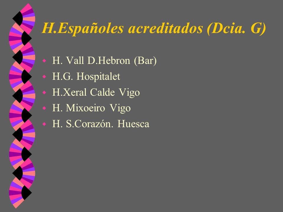 H.Españoles acreditados (Dcia. G) w H. Vall D.Hebron (Bar) w H.G. Hospitalet w H.Xeral Calde Vigo w H. Mixoeiro Vigo w H. S.Corazón. Huesca