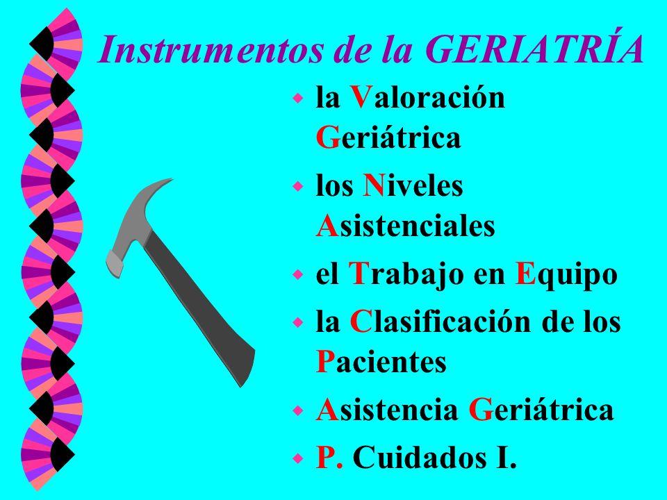 Instrumentos de la GERIATRÍA w la Valoración Geriátrica w los Niveles Asistenciales w el Trabajo en Equipo w la Clasificación de los Pacientes w Asist