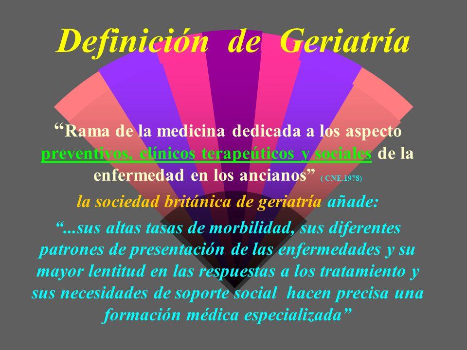 Definición de Geriatría Rama de la medicina dedicada a los aspecto preventivos, clínicos terapeúticos y sociales de la enfermedad en los ancianos ( CN