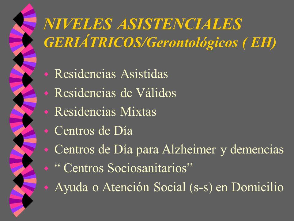 NIVELES ASISTENCIALES GERIÁTRICOS/Gerontológicos ( EH) w Residencias Asistidas w Residencias de Válidos w Residencias Mixtas w Centros de Día w Centro