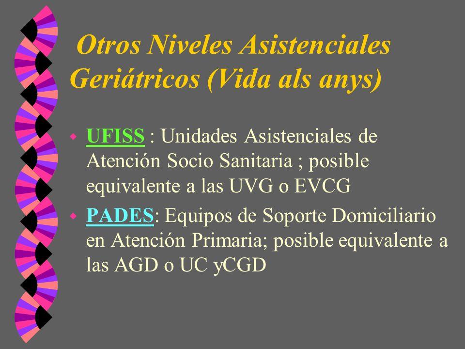 Otros Niveles Asistenciales Geriátricos (Vida als anys) w UFISS : Unidades Asistenciales de Atención Socio Sanitaria ; posible equivalente a las UVG o